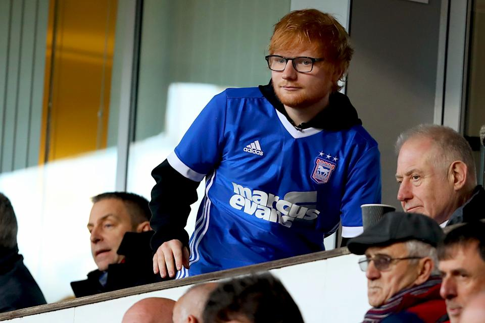 IPSWICH, ENGLAND - DECEMBER 22: Musician Ed Sheeran watches his team, Ipswich Town during the Sky Bet Championship match between Ipswich Town and Sheffield United at Portman Road on December 22, 2018 in Ipswich, United Kingdom. (Photo by Richard Calver/Getty Images)