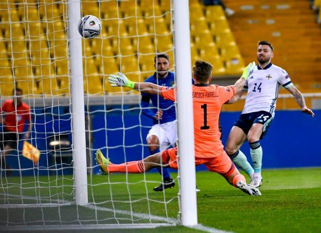 Italy's Domenico Berardi scores his side's first goal