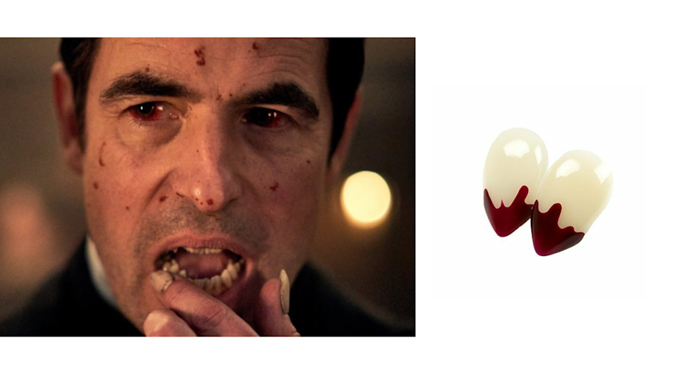 Dracula on Netflix, Small Blood Tip Vampire Fangs. Images via Netflix, eBAY