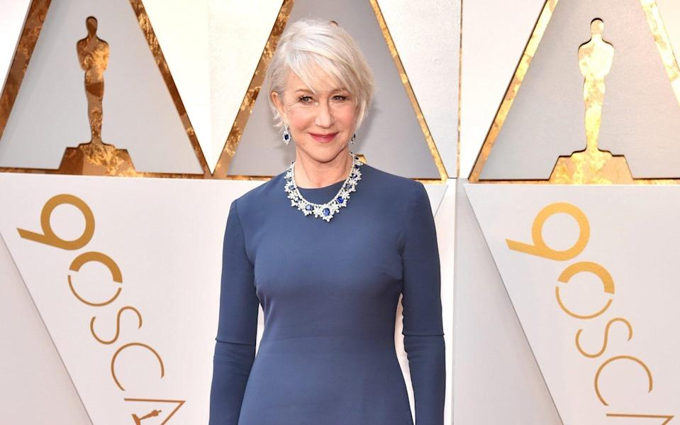 Helen Mirren, 75, does 12 minutes of exercises each day which include hopping one one leg and arm circles - Kevin Mazur