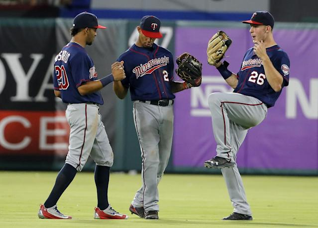Eddie Rosario, Byron Buxton and Max Kepler are the best defensive outfield in baseball so far this season. (AP)