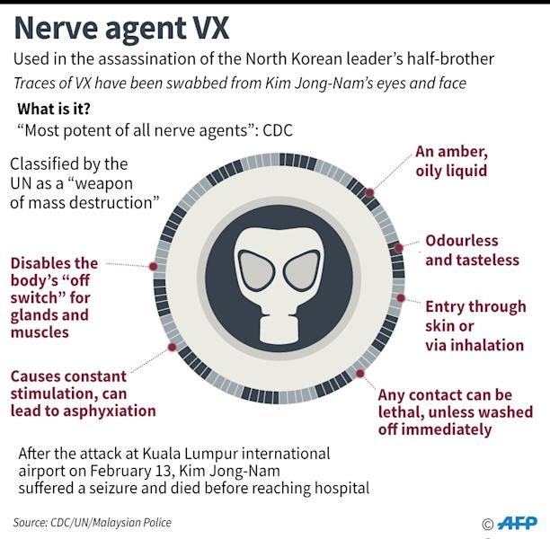 Kim Jong-Nam suffered an agonising death within 20 minutes of being attacked with the nerve agent (AFP Photo/)