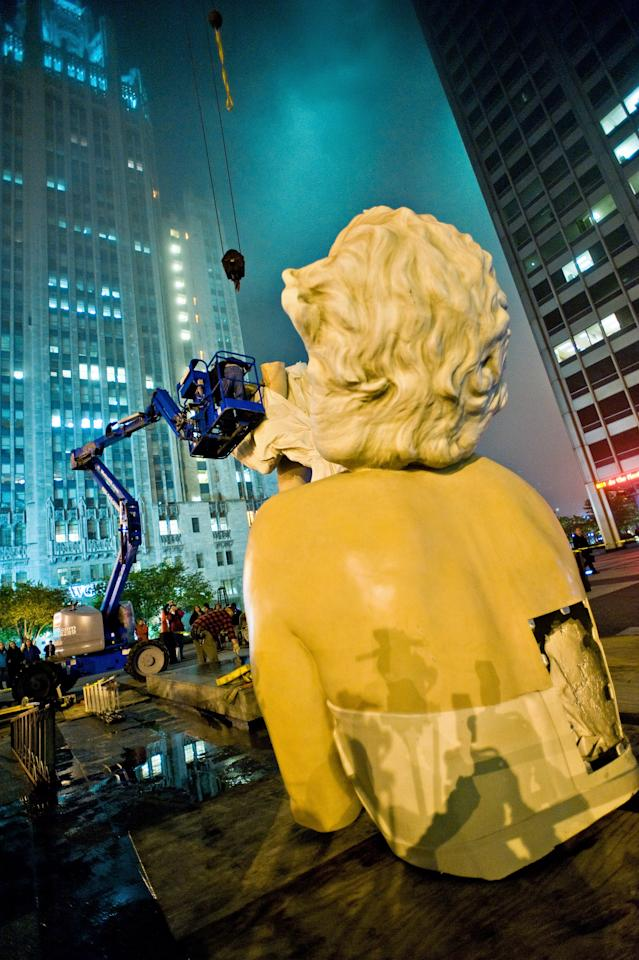CHICAGO, IL - MAY 07:  The sculpture of Marilyn Monroe is dismantled as it prepares to travel to Palm Springs, California on May 7, 2012 in Chicago, Illinois.  (Photo by Timothy Hiatt/Getty Images)