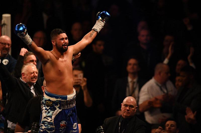 Broken hand: Tony Bellew came through to beat an injured David Haye: AFP/Getty Images