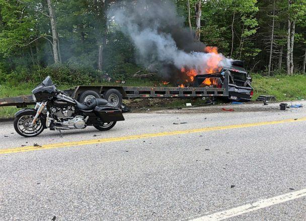PHOTO: This photo provided by Miranda Thompson shows the scene where several motorcycles and a pickup truck collided on a rural highway on June 21, 2019, in Randolph, N.H (Miranda Thompson/AP)