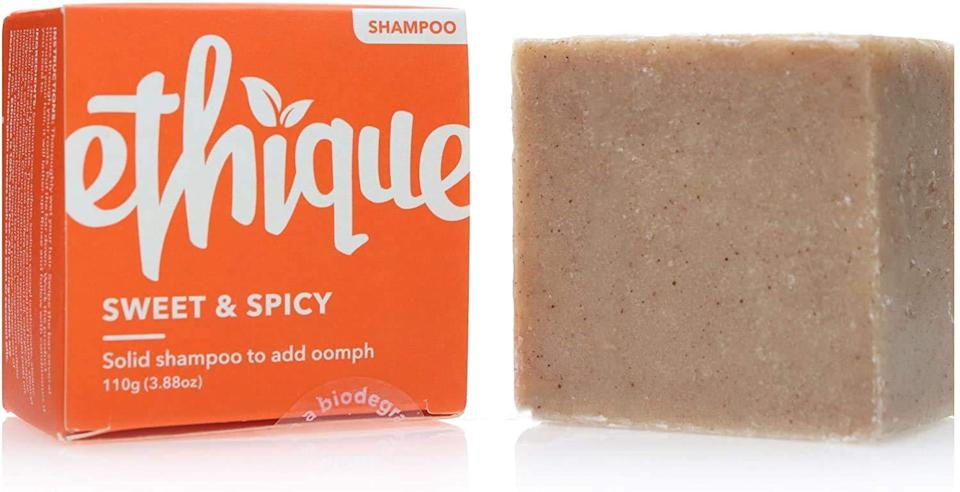 """<h2>Ethique Volumizing Shampoo Bar</h2><br><strong>Best Bar</strong><br><br>No bottle? No problem. Simply lather this shampoo bar onto wet hair, rinse, and enjoy renewed fullness and volume. (BTW, it smells like autumn in a bar — *swoon*.)<br><br><strong>Ethique</strong> Volumizing Shampoo Bar, Sweet & Spicy, $, available at <a href=""""https://amzn.to/3krX7Z9"""" rel=""""nofollow noopener"""" target=""""_blank"""" data-ylk=""""slk:Amazon"""" class=""""link rapid-noclick-resp"""">Amazon</a>"""