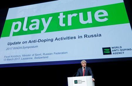 FILE PHOTO: Pavel Kolobkov, Minister of Sport of Russia addresses the Symposium of the World Anti Doping Agency (WADA) in Ecublens, Switzerland, March 13, 2017. REUTERS/Denis Balibouse