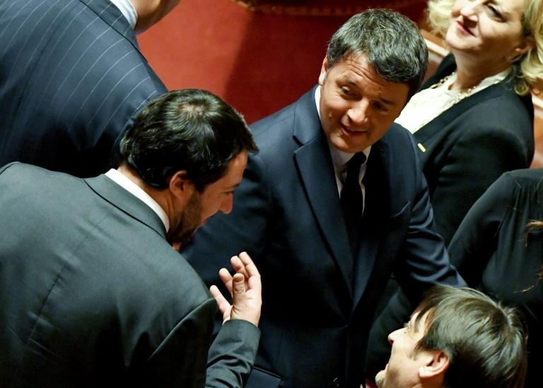 The two Matteos: Salvini (l) and Renzi hold very different political views but there are parallels between the two