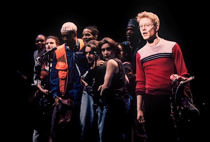 Anthony Rapp, at right, and other members of the original cast in a scene from the musical