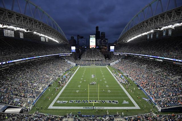"""Aug 8, 2019; Seattle, WA, USA; CenturyLink Field is seen during a game between the <a class=""""link rapid-noclick-resp"""" href=""""/nfl/teams/denver/"""" data-ylk=""""slk:Denver Broncos"""">Denver Broncos</a> and the <a class=""""link rapid-noclick-resp"""" href=""""/nfl/teams/seattle/"""" data-ylk=""""slk:Seattle Seahawks"""">Seattle Seahawks</a>. The Seahawks won 22-14. Mandatory Credit: Kirby Lee-USA TODAY Sports"""