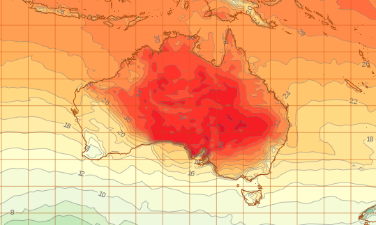 A weather map showing temperatures will be warmer in the eastern parts of Australia on Wednesday.