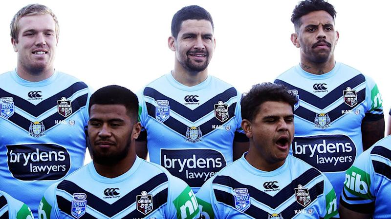 Cody Walker (centre back) with his NSW teammates. (Photo by Matt King/Getty Images)