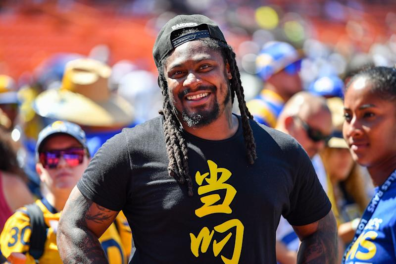 HONOLULU, HAWAII - AUGUST 17: Retired NFL footballer Marshawn Lynch is all smiles before the preseason game between the Dallas Cowboys and the Los Angeles Rams at Aloha Stadium on August 17, 2019 in Honolulu, Hawaii. (Photo by Alika Jenner/Getty Images)