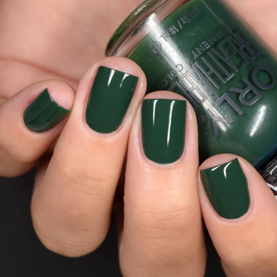 "You'll immediately think of pine trees when you wear this gorgeous shade on your nails. It's a one-step polish (so you won't need a base coat or top coat) and vegan, plus it's infused with strengthening ingredients like argan oil, pro vitamin B5 and vitamin C. <br /><br /><strong>Get it from Orly for <a href=""https://go.skimresources.com?id=38395X987171&xs=1&url=https%3A%2F%2Forlybeauty.com%2Fproducts%2Fpine-ing-for-you-1&xcust=HPBeautyProducts6075ec5be4b0fcee71a35a6f"" target=""_blank"" rel=""noopener noreferrer"">$9.99</a>. </strong>"