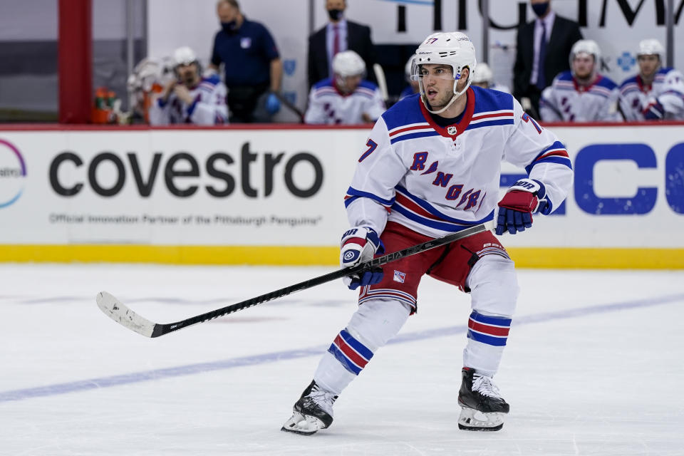 PITTSBURGH, PA - JANUARY 24: New York Rangers Defenseman Tony DeAngelo (77) skates during the third period in the NHL game between the Pittsburgh Penguins and the New York Rangers on January 24, 2021, at PPG Paints Arena in Pittsburgh, PA. (Photo by Jeanine Leech/Icon Sportswire via Getty Images)