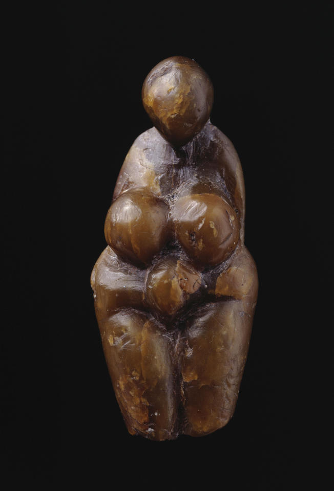 Sculpted from steatite. Found at Grimaldi, Italy, about 20,000 years old. Musée d'archéologie nationale. © Photo RMN/Jean-Gilles Berizz