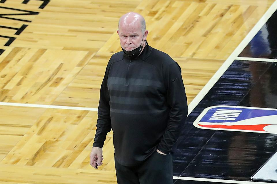 ORLANDO, FL - APRIL 12: Orlando Magic head coach Steve Clifford is seen on the sidelines against the San Antonio Spurs at Amway Center on April 12, 2021 in Orlando, Florida. NOTE TO USER: User expressly acknowledges and agrees that, by downloading and or using this photograph, User is consenting to the terms and conditions of the Getty Images License Agreement. (Photo by Alex Menendez/Getty Images)