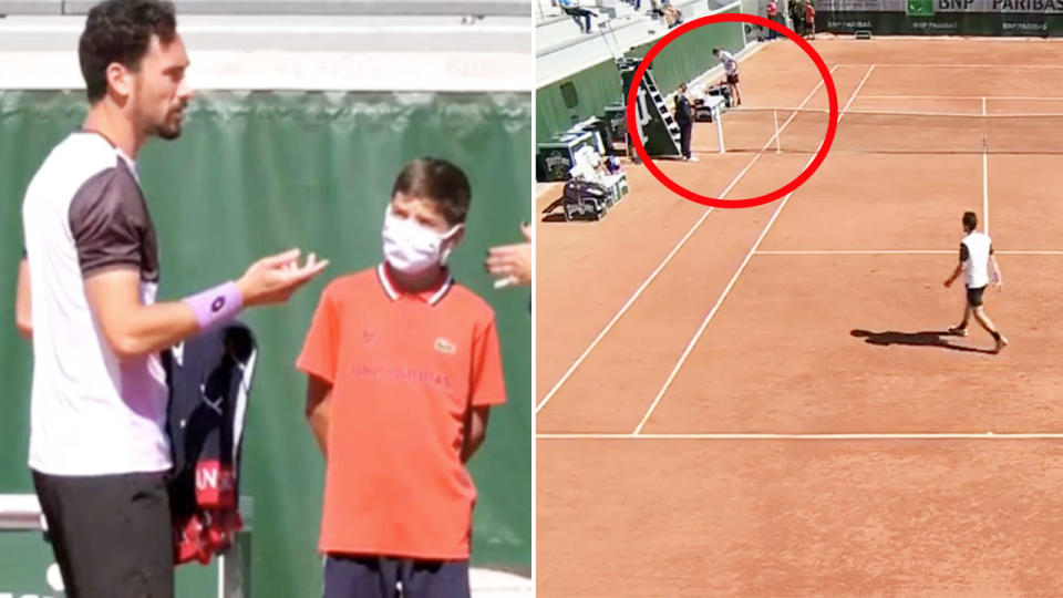 Gianluca Mager, pictured here before his match at the French Open.