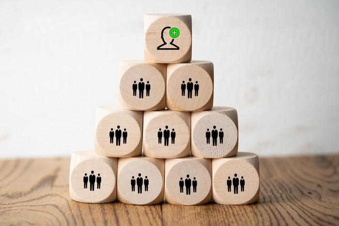 Wooden blocks stacked in a pyramid with images of business people on each block.