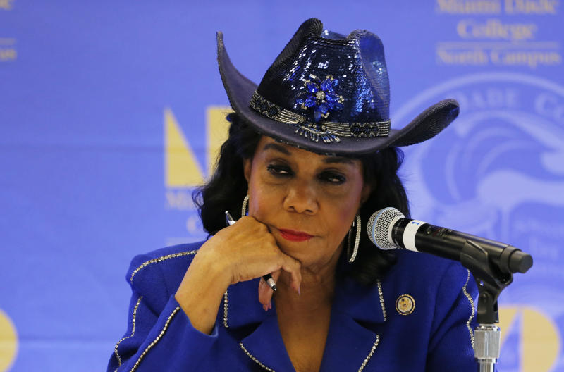 Rep. Frederica Wilson (D-Fla.) listens to testimony at a congressional field hearing on nursing home preparedness and disaster response Oct. 19, 2017 in Miami, Florida.  (Joe Skipper via Getty Images)
