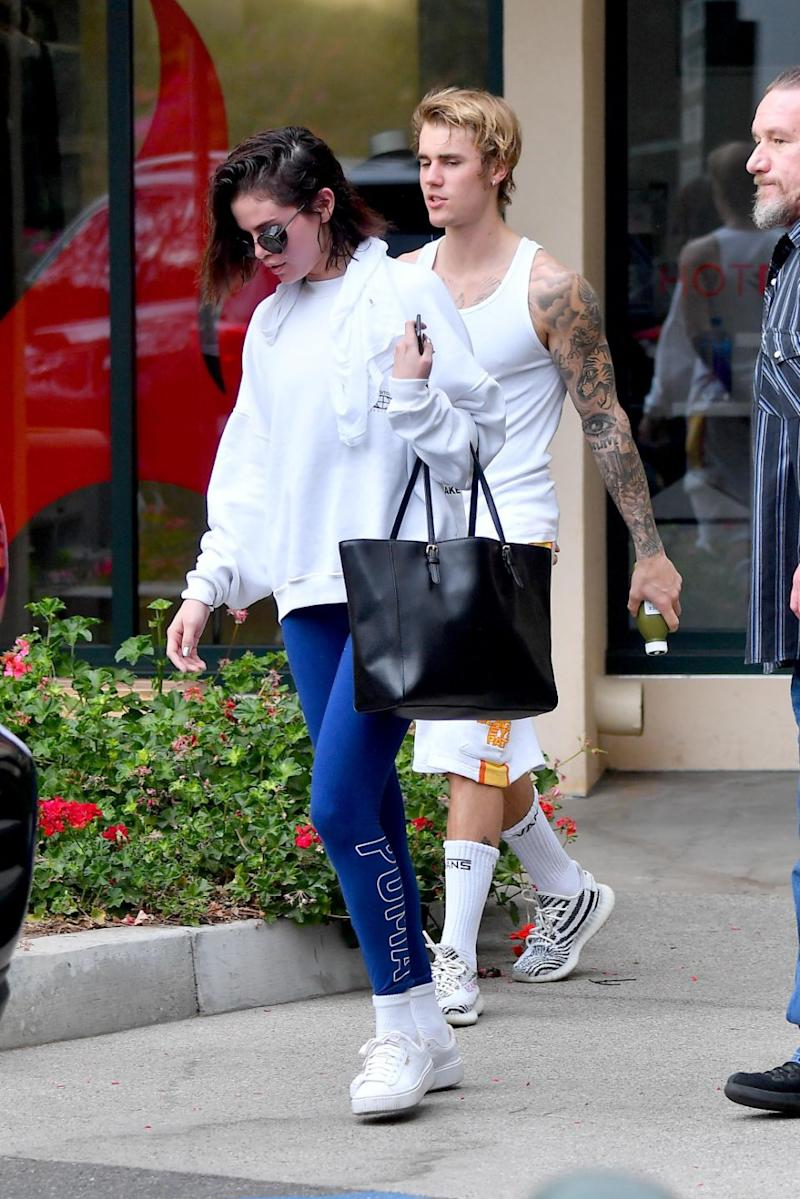 The Hollywood super couple were seen leaving a West Hollywood pilates studio where the temperatures hit 100 degrees. Source: Backgrid