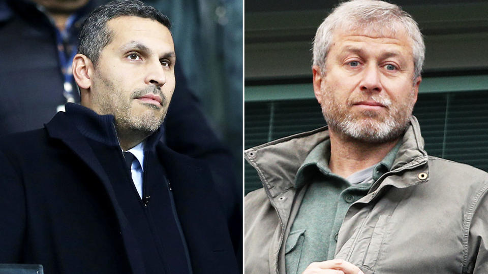 Khaldoon Al Mubarak and Roman Abramovich, pictured here at English Premier League games.