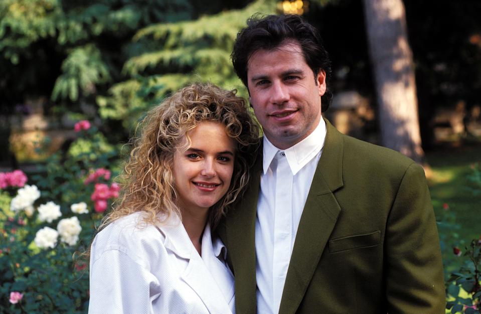 John Travolta with Kelly Preston. (Photo by ARNAL/Gamma-Rapho via Getty Images)