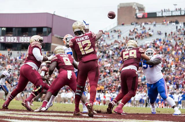 Deondre Francois was dismissed by Florida State in February after disturbing video surfaced. He now plans to walk on at Florida Atlantic. (AP Photo/Mark Wallheiser)