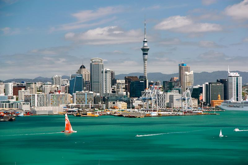 Sunny clear Skyline of Auckland, New Zealand