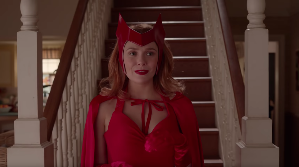 Elizabeth Olsen wearing Scarlet Witch's classic red costume in <i>WandaVision</i>. (Disney/YouTube)