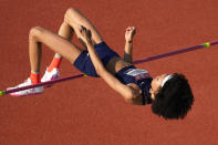 Vashti Cunningham competes during the finals of the women's high jump at the U.S. Olympic Track and Field Trials Sunday, June 20, 2021, in Eugene, Ore. (AP Photo/Charlie Riedel)