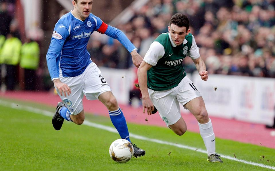 John McGinn (right) in action for Hibernian - ACTION IMAGES
