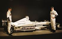 (L-R) Jenson Button with teammate Ralf Schumacher and the new Williams F1 car