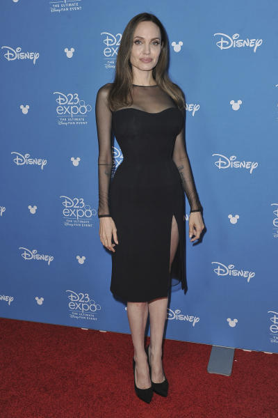 Angelina Jolie attends the Go Behind the Scenes with the Walt Disney Studios press line at the 2019 D23 Expo on Saturday, Aug. 24, 2019, in Anaheim, Calif. (Photo by Richard Shotwell/Invision/AP)
