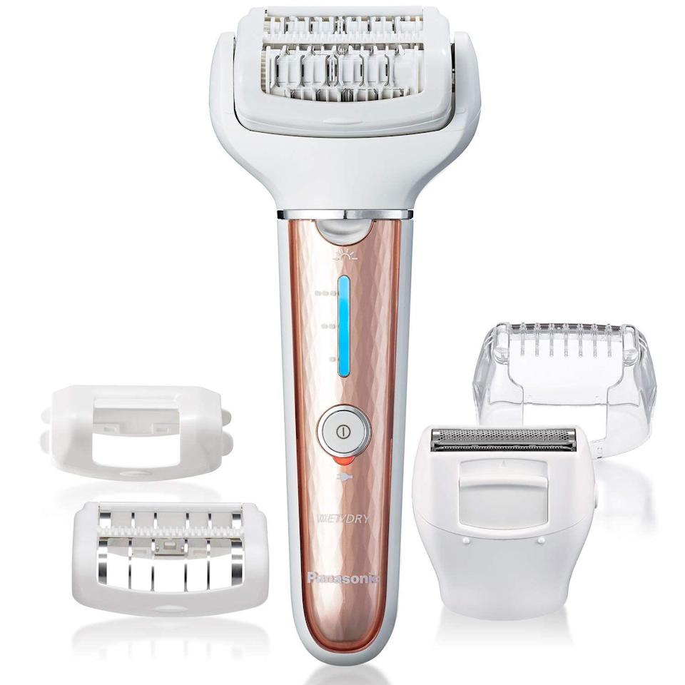 "<p><strong>panasonic</strong></p><p>amazon.com</p><p><strong>$79.99</strong></p><p><a href=""https://www.amazon.com/Panasonic-Cordless-Epilator-Attachments-Underarms-dp-B07RBNJFNP?tag=syn-yahoo-20&ascsubtag=%5Bartid%7C10055.g.31004034%5Bsrc%7Cyahoo-us"" rel=""nofollow noopener"" target=""_blank"" data-ylk=""slk:Shop Now"" class=""link rapid-noclick-resp"">Shop Now</a></p><p>The Beauty Lab tested the <a href=""https://www.amazon.com/Panasonic-ES-ED70-G-Multi-Functional-Epilator-Attachments/dp/B00XN1PLHA"" rel=""nofollow noopener"" target=""_blank"" data-ylk=""slk:ES-ED70-G"" class=""link rapid-noclick-resp"">ES-ED70-G</a>, an older but very similar model to this one, but it's hard to find. It scored a 4.5 out of 5 in overall performance. This model looks different with its sleeker profile, but it performs similarly (and better), showcasing a triple-speed motor and <strong>five snap-on attachments that conform to your body. </strong>The built-in LED light helps you and the device better detect each hair. </p>"