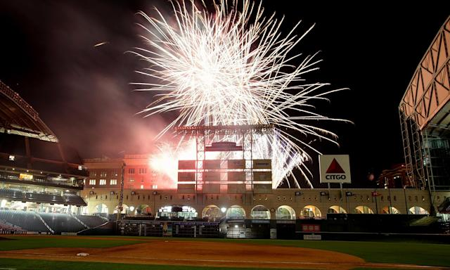 HOUSTON - MAY 03: Friday Night Fireworks explode above Minute Maid Park on May 3, 2013 in Houston, Texas. (Photo by Bob Levey/Getty Images)