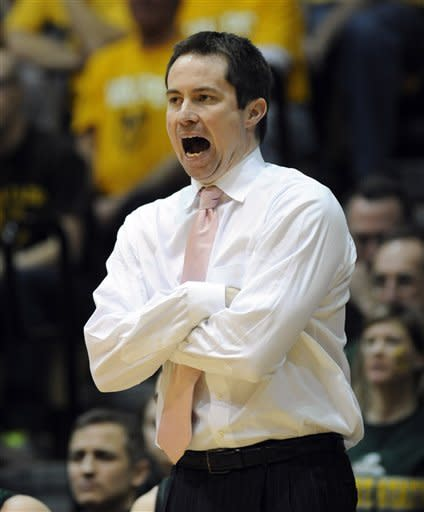 Wright State coach Billy Donlon reacts to play during the first half of an NCAA college basketball game in the final of Horizon League Conference tournament Tuesday March 12, 2013 in Valparaiso, Ind. (AP Photo/Joe Raymond)