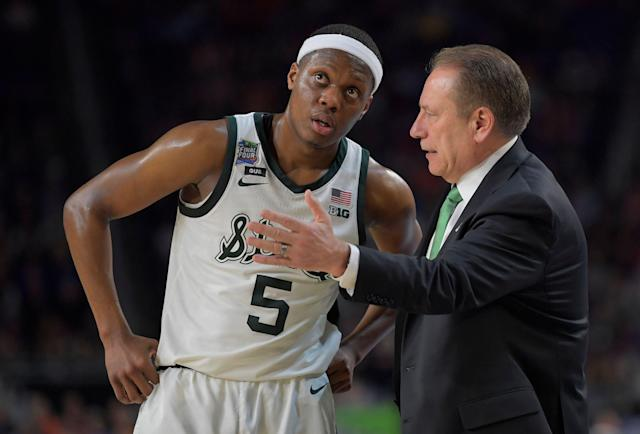 "Big Ten Player of the Year <a class=""link rapid-noclick-resp"" href=""/ncaab/players/137368/"" data-ylk=""slk:Cassius Winston"">Cassius Winston</a> will return to Michigan State next fall for his senior season. (Getty Images)"