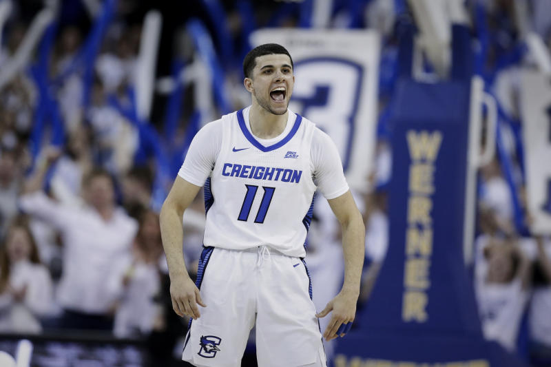Creighton's Marcus Zegarowski (11) celebrates in the closing minutes of the second half of an NCAA college basketball game against Seton Hall in Omaha, Neb., Saturday, March 7, 2020. Creighton won 77-60. (AP Photo/Nati Harnik)