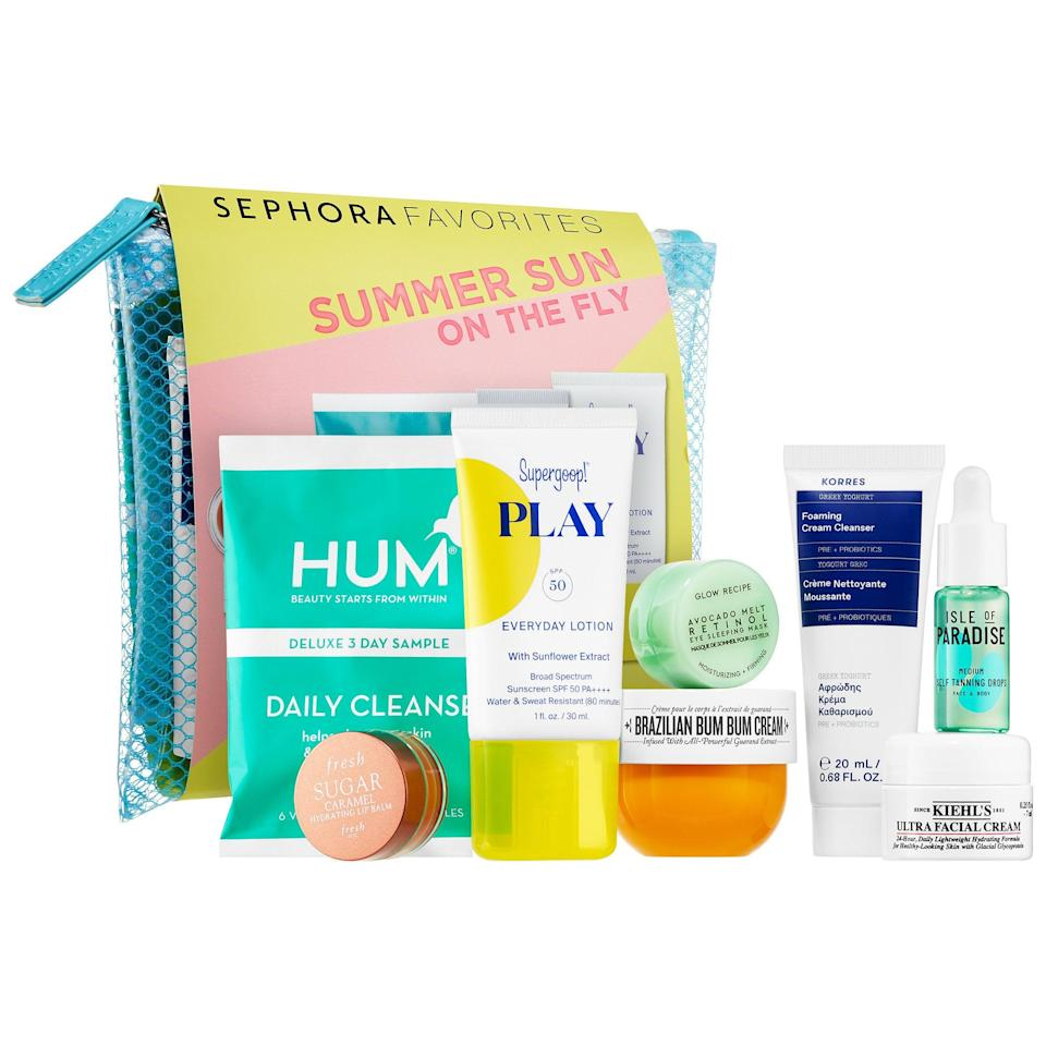 "<p>All packed into a mesh bag, this new <a href=""https://www.popsugar.com/buy/Sephora-Favorites-Summer-Sun-Fly-568866?p_name=Sephora%20Favorites%20Summer%20Sun%20on%20the%20Fly&retailer=sephora.com&pid=568866&price=25&evar1=bella%3Aus&evar9=47425767&evar98=https%3A%2F%2Fwww.popsugar.com%2Fbeauty%2Fphoto-gallery%2F47425767%2Fimage%2F47425773%2FSephora-Favorites-Summer-Sun-on-Fly&prop13=api&pdata=1"" class=""link rapid-noclick-resp"" rel=""nofollow noopener"" target=""_blank"" data-ylk=""slk:Sephora Favorites Summer Sun on the Fly"">Sephora Favorites Summer Sun on the Fly</a> ($25) lets you try a bunch of popular moisturizing products including Kiehl's Since 1851 Ultra Facial Cream, KORRES Greek Yoghurt Foaming Cream Cleanser, and Fresh Sugar Caramel Hydrating Lip Balm, too.</p>"