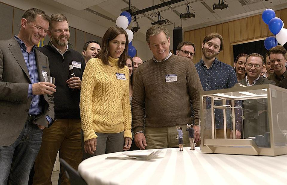 """<p>Married couple <a rel=""""nofollow"""" href=""""https://www.yahoo.com/movies/tagged/matt-damon"""" data-ylk=""""slk:Matt Damon"""" class=""""link rapid-noclick-resp"""">Matt Damon</a> and <a rel=""""nofollow"""" href=""""https://www.yahoo.com/movies/tagged/kristen-wiig"""" data-ylk=""""slk:Kristen Wiig"""" class=""""link rapid-noclick-resp"""">Kristen Wiig</a> get small — literally, as in shrunk down to miniature proportions — in this highly anticipated, star-studded sci-fi comedy from director <a rel=""""nofollow"""" href=""""https://www.yahoo.com/movies/tagged/alexander-payne"""" data-ylk=""""slk:Alexander Payne"""" class=""""link rapid-noclick-resp"""">Alexander Payne</a> (<em><a rel=""""nofollow"""" href=""""https://www.yahoo.com/movies/film/the-descendants"""" data-ylk=""""slk:The Descendants"""" class=""""link rapid-noclick-resp"""">The Descendants</a>, <a rel=""""nofollow"""" href=""""https://www.yahoo.com/movies/film/nebraska"""" data-ylk=""""slk:Nebraska"""" class=""""link rapid-noclick-resp"""">Nebraska</a>, <a rel=""""nofollow"""" href=""""https://www.yahoo.com/movies/film/sideways"""" data-ylk=""""slk:Sideways"""" class=""""link rapid-noclick-resp"""">Sideways</a></em>). (Paramount) </p>"""