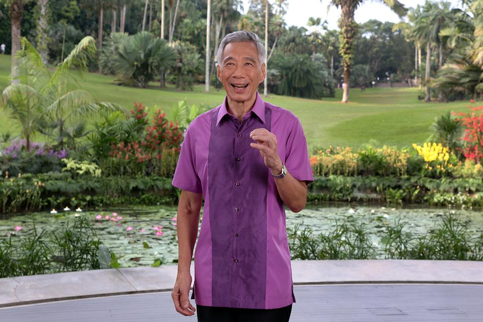 Prime Minister Lee Hsien Loong delivering his National Day Message on Sunday (8 August). (PHOTO: MCI)