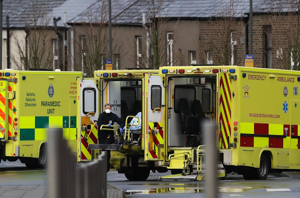 Paramedics and ambulances at the Mater Hospital in Dublin as the head of the Health Service Executive Paul Reid has said the number of people in hospital with Covid-19 has surpassed the peak of the first wave.