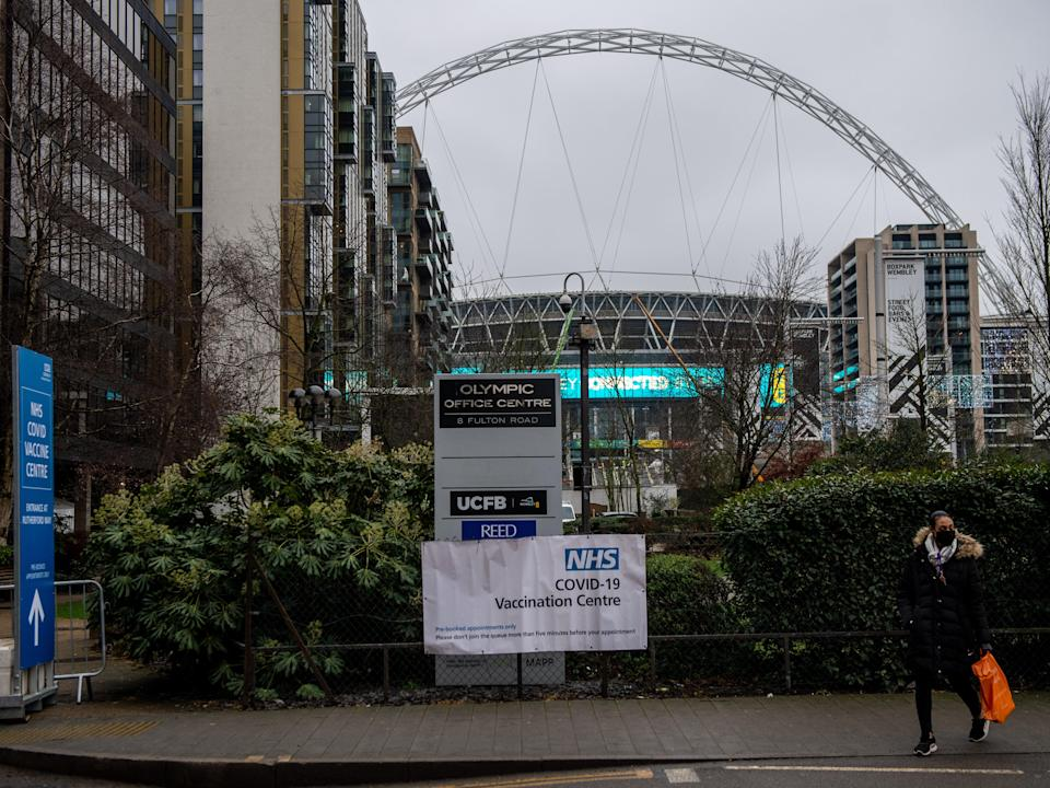 <p>A vaccination centre at Wembley Stadium, where just 4,000 fans will be allowed to attend FA Cup fixtures in April and May</p> (Getty)
