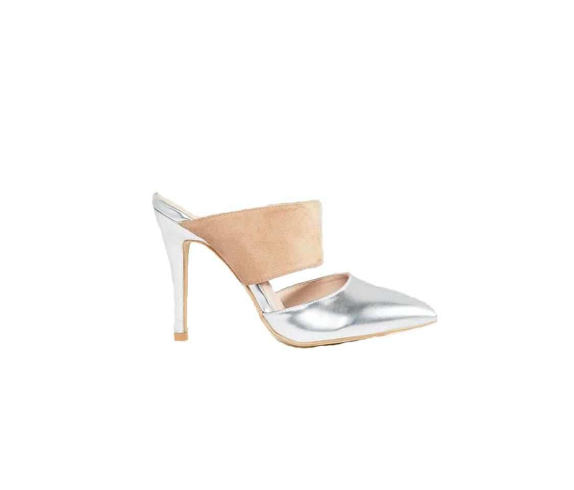 """<p>$43, <br /><a rel=""""nofollow"""" href=""""http://us.asos.com/true-decadence/true-decadence-metallic-heeled-mules/prd/6772580?iid=6772580&clr=Silvertaupe&SearchQuery=metallic%20shoes&pgesize=36&pge=0&totalstyles=196&gridsize=3&gridrow=11&gridcolumn=1/"""">asos.com</a> </p>"""