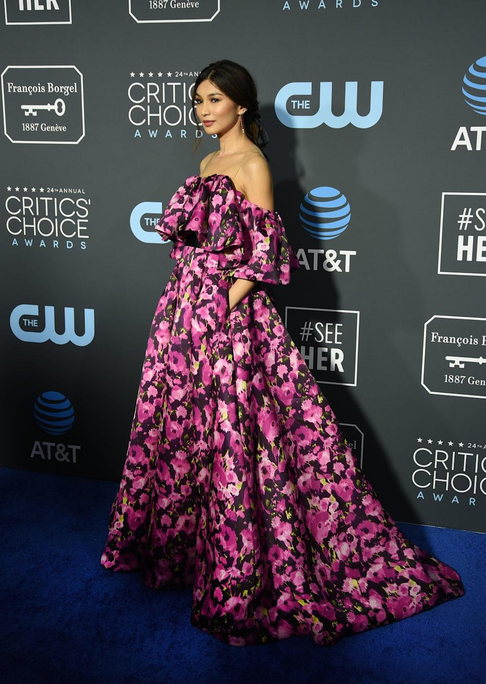 <p>Gemma Chan wearing an off-the-shoulder Jason Wu gown and Anita Ko jewels.</p>