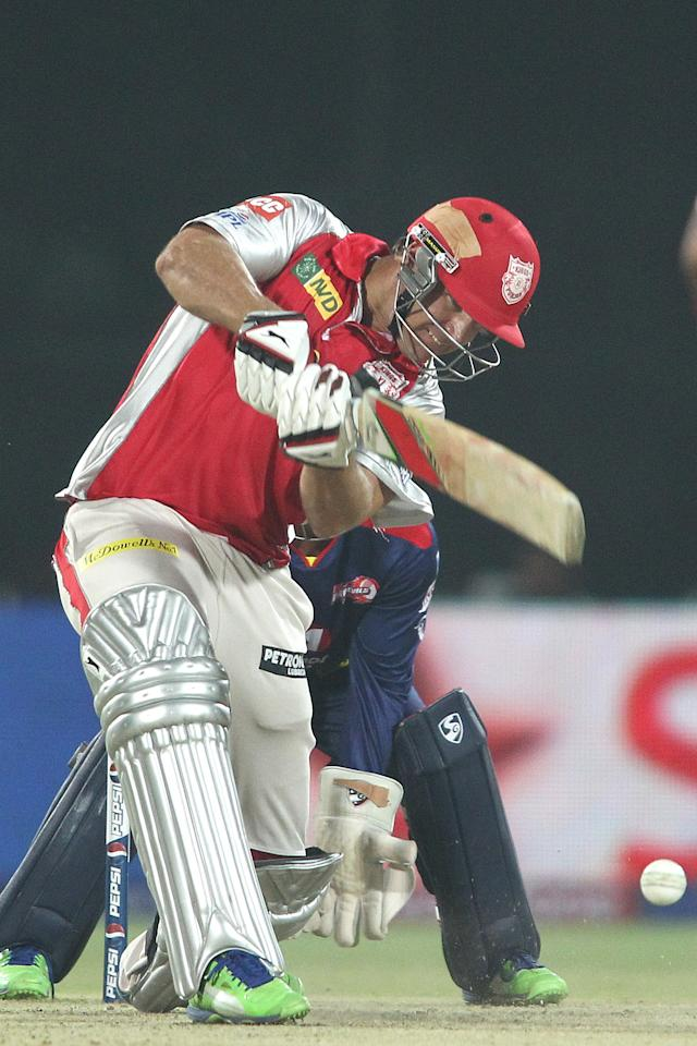 Luke Pomersbach of Kings XI Punjab drives a delivery during match 32 of the Pepsi Indian Premier League between The Delhi Daredevils and the Kings XI Punjab held at the Feroz Shah Kotla Stadium, Delhi on the 23rd April 2013..Photo by Shaun Roy-IPL-SPORTZPICS  ..Use of this image is subject to the terms and conditions as outlined by the BCCI. These terms can be found by following this link:..https://ec.yimg.com/ec?url=http%3a%2f%2fwww.sportzpics.co.za%2fimage%2fI0000SoRagM2cIEc&t=1502943012&sig=GhHUDqaZrMzovkSxInc_yA--~D