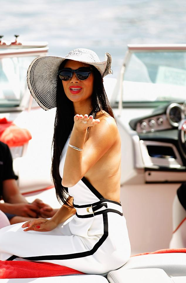 MONTE CARLO, MONACO - MAY 27:  Nicole Scherzinger of the Pussycat Dolls, girlfriend of Lewis Hamilton of Great Britain and McLaren Mercedes arrives in the paddock by motor launch before the Monaco Formula One Grand Prix at the Circuit de Monaco on May 27, 2012 in Monte Carlo, Monaco.  (Photo by Paul Gilham/Getty Images)