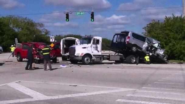 PHOTO: Authorities work the scene where a van with members of a college rowing team crashes in Vero Beach, Fla., Jan. 15, 2020. (WPBF)