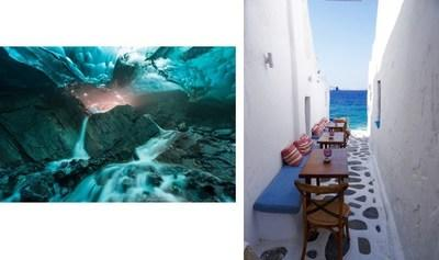 "Carol Lahnum, the grand-prize winner of the ""Sea to Sky Princess Photo Contest"" captured the image (left) of Brown's Cave at Mendenhall Glacier in Juneau, Alaska - a port visited on every Princess Cruises Alaska voyage. Mark Harris, Princess Cruises employee grand-prize winner, discovered this hidden café in Mykonos, Greece (right)."